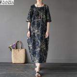 Harga 2017 Wanita Boho Floral Dicetak Lengan Pendek Katun Linen Maxi Long Gaun Longgar Kaftan Kasual Baggy Vestido Plus Ukuran Navy Zanzea Branded