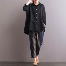 ZANZEA 2018 Casual Fashion Button Down Shirt Women Autumn Lapel Solid Long Sleeve High Low Hem Top Vintage Baggy Blouse Black