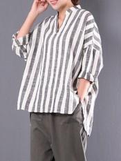 ZANZEA 2018 Spring Plus Size M 5XL Cotton Linen Blouse Women Stand Collar V Neck Loose Irregular Shirts Retro Baggy Striped Tops Stripe