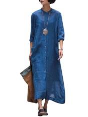 Zanzea 2018 Spring Wanita Vintage O Leher Panjang Lengan Tombol Kantong Cotton Linen Retro Solid Vestido Panjang Baju Kemeja PLUS Ukuran Lebih Biru-Internasional