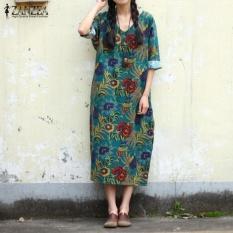 zanzea-3-colors-women-floral-print-dress-loose-maxi-long-dress-casual-34-sleeves-v-neck-party-split-hem-robe-kaftan-plus-size-green-intl-0450-06894407-5541879bd81678a4f80c17f2022886df-catalog_233 Koleksi List Harga Gaun Muslim Pesta Sederhana Terbaru 2018
