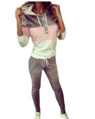 Zanzea Musim Gugur Perdagangan Luar Negeri Baru Tali Bertudung Dua Potong Setelan Jaket Santai Olahraga Setelan Wanita Ukuran S-XXL Grey -Internasional