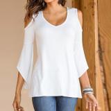 Tips Beli Zanzea Baju Musim Gugur Dari Bahu Seksi Wanita Blus Leher V Lengan Panjang Kasual Blusas Suar Solid Atasan Ukuran Better S 5Xl Putih Internasional