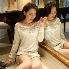 Harga Blusas Femininas 2016 Wanita Renda Berongga Keluar Elegan Blus Kemeja Wanita Pakaian Putih Roupas Tops Plus Ukuran Putih Intl Zanzea Online Hong Kong Sar Tiongkok