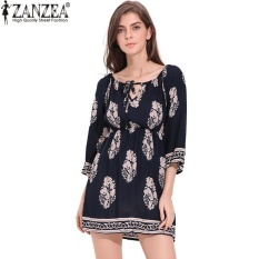 Cara Beli Zanzea Boho Floral Print Summer Slash Neck Lengan Flare Womens Loose Long Sleeve Rayon Mini Dress Pantai Vestidos Plus Ukuran Navy Intl