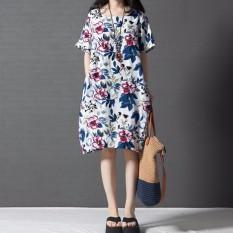 Harga Zanzea Boho Style Gaun Floral Tercetak 2016 Panas Wanita Lengan Pendek Gaun Kasual Vestido Antik Ukuran S 5Xl Intl Zanzea Baru