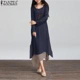 Spesifikasi Zanzea Katun Linen Panjang Kasual Maxi Kaftan Hippie Wanita Panjang Sleeve Dress Navy Yg Baik