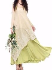 Zanzea Palsu Dua Kepingan Bohemian Katun Linen Vestido Lengan Panjang Kru Leher Bunga Bordir Musim Gugur Sederhana Santai Besar Gaun Ringan hijau-Internasional