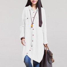 Zanzea Modis Musim Gugur 2016 Panas Wanita Lengan Panjang Jual Blus Hem Tidak Teratur Kemeja Katun Polos Kasual Longgar Blusas Ukuran Lebih atasan Putih-Internasional