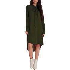 ZANZEA Fashion Blusas 2016 Penjualan Panas Wanita Baju Kemeja Kasual Lengan Panjang Amsymetircal Chiffon Blus Ukuran S-5XL Tops Army Hijau