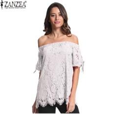Review Tentang Zanzea Fashion Blusas Wanita Bahu Musim Panas Lace Blouse Tops Slash Neck Padat Longgar Kemeja Kasual Plus Ukuran Putih Intl