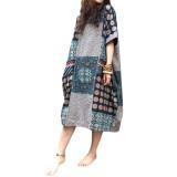 Toko Zanzea Fashion Terlalu Besar Wanita Lengan Bang Pendek Berwarna Kuning Eye Vintage Longgar Bermotif Bunga Gaun Maksi Internasional Zanzea Tiongkok