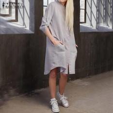 Beli Zanzea Fashion Pesta Bergaya Liburan Bergaya Asimetris Ladies Panjang Baju Kemeja Abu Abu Intl Cicilan