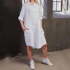 ZANZEA Fashion Pesta Bergaya Liburan Bergaya Asimetris Ladies Long Baju Kemeja dari Putih-Intl