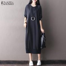 Ulasan Lengkap Zanzea Musim Gugur Fashion Wanita Vintage Long Sweatshirt Gaun Kasual Kantong Lengan Panjang Dengan Leher O Pullover Vestido Plus Ukuran Hitam Intl