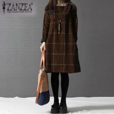 Zanzea Fashion Wanita Musim Gugur Musim Dingin O Leher Lengan Panjang Plaid Gaun Plus Ukuran Brown Intl Original