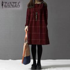 ZANZEA Fashion Wanita Musim Gugur Musim Dingin O Leher Lengan Panjang Plaid Gaun Plus Ukuran Merah-Intl