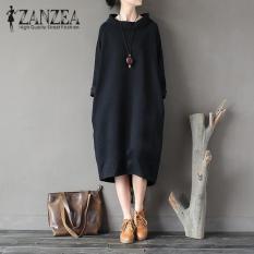 Zanzea Fashion Kasual Wanita Solid Longgar Vestidos Tops 2018 Musim Gugur Turtleneck Panjang Maxi Lengan Panjang Sweatshirt Gaun Hitam Terbaru
