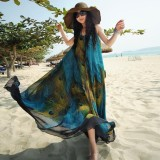 Review Tentang Zanzea Fashion Women Vintage Bohemia Ladies Sleeveless Floral Print Summer Beck Loose Long Maxi Dress Intl