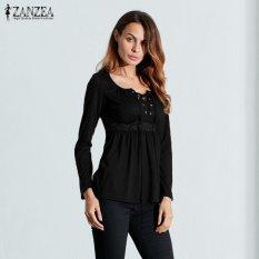 Spesifikasi Zanzea Dijual Blusas Panas Blus Musim Gugur Kaos Wanita Leher V Seksi Renda Panjang Lengan Patchwork Renda Atasan Kasual Ukuran Hitam Intl Paling Bagus