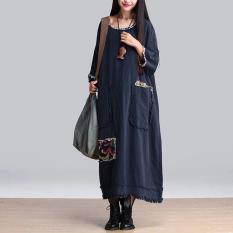 Zanzea Panas Dijual Gaun Wanita Vintage Bunga Perca Leher O 3 4 Katun Lengan Vestidos Santai Gaun Panjang Maxi Ukuran Better Navy Di Tiongkok