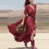 Spesifikasi Zanzea Wanita Boho Floral V Leher Panjang Maxi Gaun Musim Panas Pantai Matahari Wanita Pesta Gaun Dan Harga