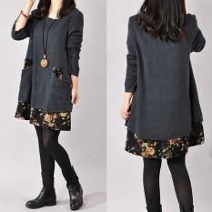 Beli Zanzea Lepas Baju Kasual Wanita Floral Mini Terlalu Besar Sweter Rajut Baju Atasan Panjang Internasional Lengkap