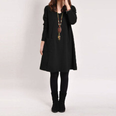 Harga Baju Panjang Lengan Wanita Pocket Leher V Yang Longgar Gaun Mini Hamil Katun Kasual Hitam Dan Spesifikasinya