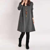 Zanzea Wanita Lengan Baju Panjang Saku V Leher Puncak Santai Mini Hamil Gaun Katun Longgar Abu Abu Gelap Internasional Tiongkok