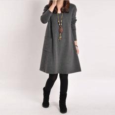 Penawaran Istimewa Zanzea Wanita Lengan Baju Panjang Saku V Leher Puncak Santai Mini Hamil Gaun Katun Longgar Abu Abu Gelap Internasional Terbaru