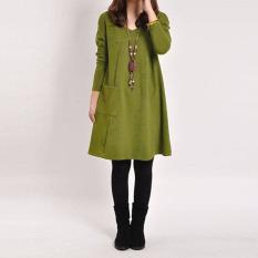 ZANZEA Lengan Pocket Baju Panjang Wanita Leher V Yang Longgar Puncak Santai Mini Hamil Gaun Katun Hijau-Internasional