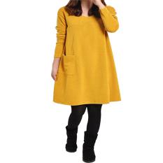 Baju Panjang Lengan Wanita Pocket Leher V Yang Longgar Gaun Mini Hamil Katun Kasual Kuning