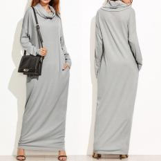 Zanzea Long Dress Kaftan Maxi Wanita Casual Lengan Panjang Model Longgar Aksen Saku