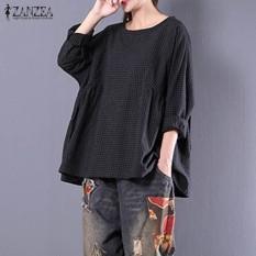 Jual Zanzea Lengan Panjang Crew Neck Plaid Pullover Shirt Wanita Musim Gugur Cotton Linen Leisure Tartan Hitam Blus Biru Besar Top Black Intl Zanzea Murah