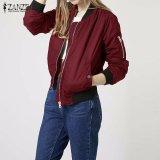 Toko Jual Zanzea Lengan Panjang Slim Jaket Wanita Gugur Musim Dingin Kerah Vintage Berdiri Selebriti Pembom Kasual Padat Ukuran Lebih Anggur Merah Intl