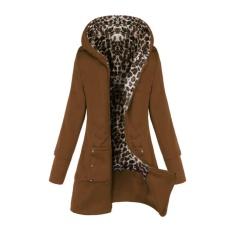 Toko Zanzea Baru Gaya Eropa Wanita Fashion Lengan Panjang Zipper Hooded Mantel Hangat Musim Dingin Wanita Macan Tutul Bulu Jaket Pakaian Unta Intl Terlengkap