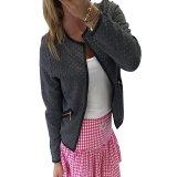 Spesifikasi Zanzea New Fashion Wanita Kardigan Lengan Panjang Jaket Mantel Pendek 2016 Gugur Musim Dingin Per Pos Kotak Kotak Saku Jas Perempuan Lebih Tahan Dr Abu Abu Internasional Bagus