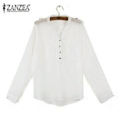 Review Tentang Zanzea Baru Blus Sifon Kasual Longgar Kemeja Ukuran 8 26 Lady Long Sleeve Tops Tee Putih Intl