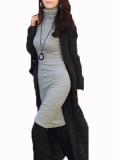 Beli Zanzea Ol Wanita Lengan Panjang Kura Kura Leher Bodycon Dress Pensil Tipis Mini Deck Abu Abu Murah