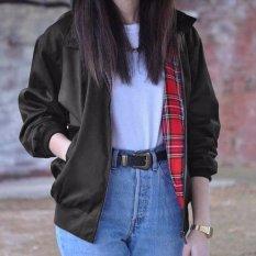 ZANZEA Terlalu Besar Wanita Pakaian Musim Gugur Fashion Vintage Lengan Panjang Kotak-kotak Saku Ritsleting Jaket Bomber Jaket Kasual Ukuran Lebih (HITAM) -Intl