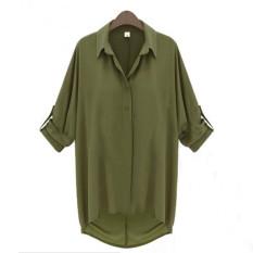 Jual Beli Zanzea Plus Ukuran Cewek Sifon Tipis Lengan Batwing Kerah Kemeja Longgar Blus Cardigan Hijau Di Hong Kong Sar Tiongkok