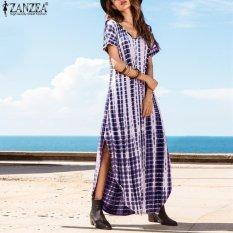Jual Zanzea Plus Ukuran S 5Xl Gaun Musim Panas Wanita Dye Cetak Side Split Longgar Panjang Gaun Melengkung Hem Lengan Pendek Pencetakan Gaun Maxi Biru Intl Baru