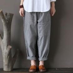 Zanzea Plus Ukuran Celana Wanita Elastis Bergaris Kantong Longgar Kasual Celana Panjang-Internasional