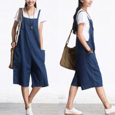 ZANZEA Romper Wanita Jumpsuit Summer Autumn Sleeveless Fashion Lebar Kaki Celana Denim Betis Panjang Vintage Overall S-5XL-Intl