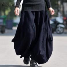 ZANZEA Solid Panjang Lebar Kaki Longgar Cargo Pants Celana Women Cotton Linen Tinggi Elastis Pinggang Fashion Lantern Pantalon NAVY -Intl