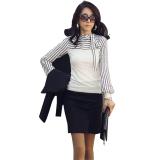 Review Terbaik Zanzea Stripe Polo Lengan Panjang Berkerah Tinggi Kepulan Tops Putih