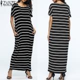 Zanzea Musim Panas Gaun Vintage Striped Robe Maxi Long Gaun Longgar Plus Ukuran Wanita Kasual Vestido Kaftan Tops Hitam Intl Indonesia Diskon