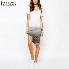 Harga Zanzea Gaya Musim Panas 2017 Kasual T Shirt Dress Stylish Pendek Leher O Lengan Loose Gradient Warna Dovetail Ukuran Plus Vestidos Intl New