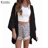 Jual Beli Online Zanzea Summer Women Elegant Cardigan S*xy Lace Embroidery Kimono Hollow Out Solid Blouses Shirts Beach Outwear Blusas Tops Black Intl