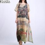 Spesifikasi Zanzea Vintage Wanita Silk Maxi Panjang Gaun Boho Floral Dicetak Lengan Pendek Ladies Kaftan Tunic Ukuran Lebih Vestidos L 5Xl Intl Dan Harganya